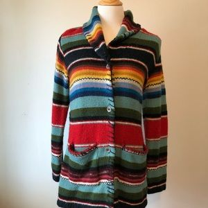 EUC- BOHO-Navajo Colorful Cardigan Sweater Size XS